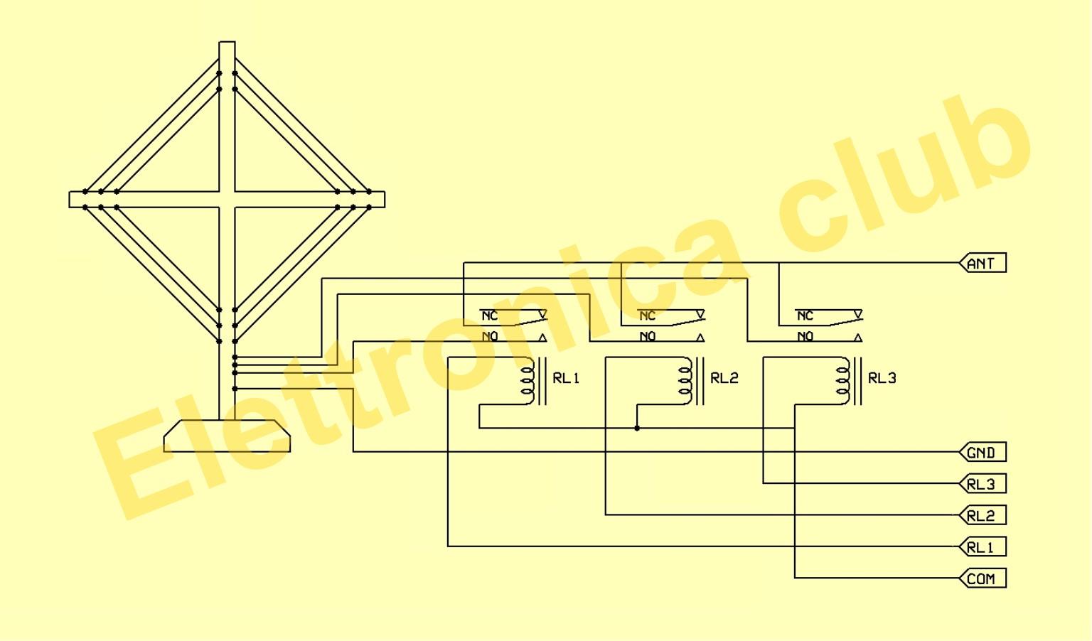 Schema Elettrico Relè Commutatore : Antenna attiva a telaio per ol om oc e cb