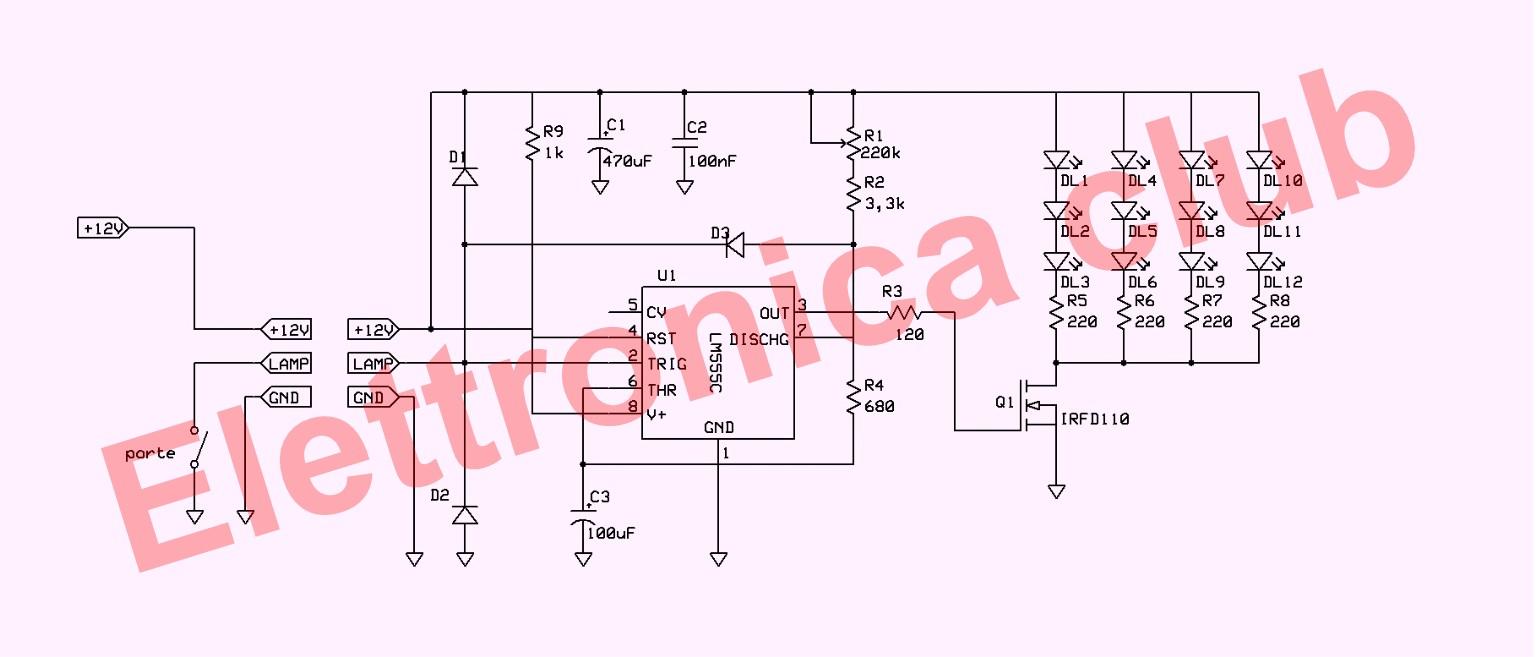 Schema Elettrico Auto : Ml005 luci di cortesia per auto storiche elettronica club
