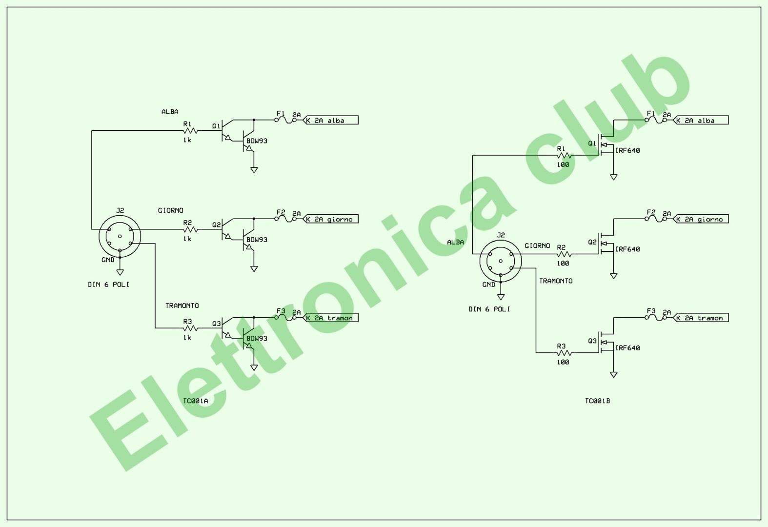 Schema Elettrico Lampada : Tl001 periferica per lampade 12 e 24v per tc001 elettronica club