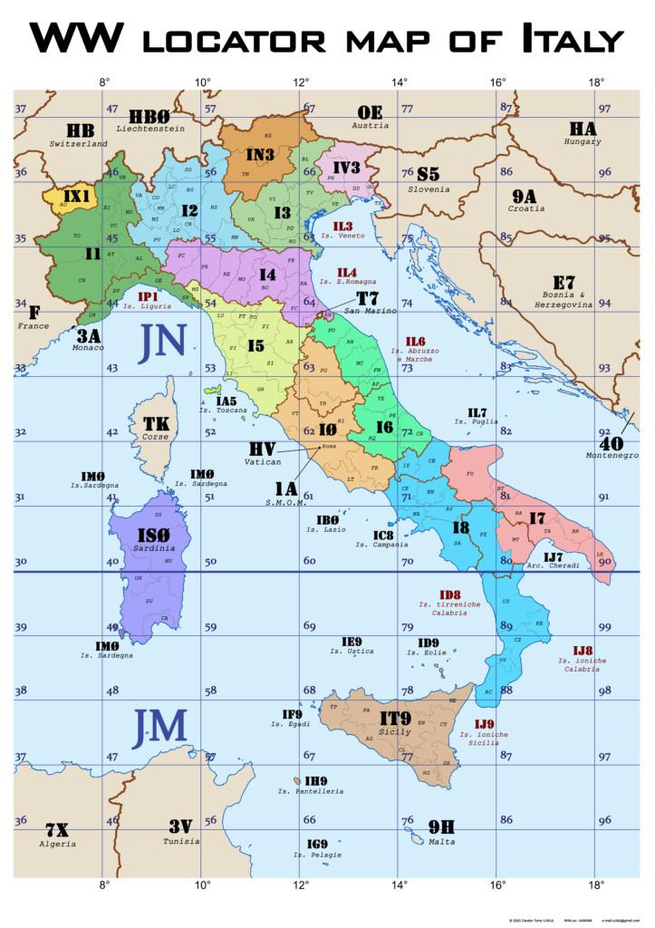 mappa radio prefissi italiani